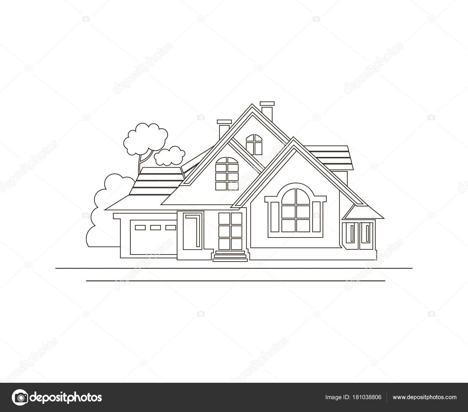 Monochrome Skizze Design Des Privathauses — Stockvektor © alexkava ...