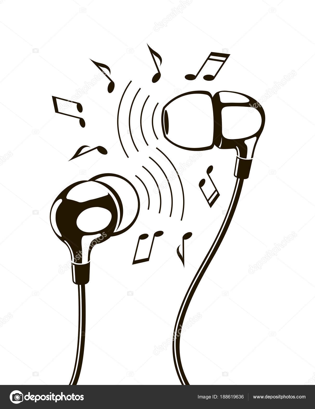 Ejemplares Negro Auriculares Con Notas Musicales Archivo Imágenes