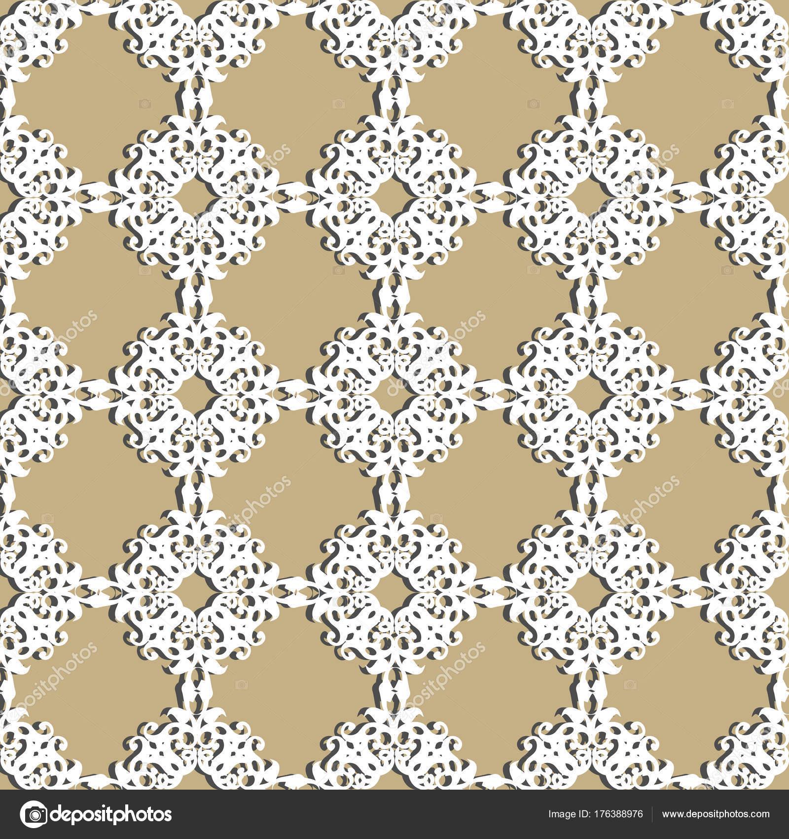 Seamless Modeli Patchwork Beyaz Tabaklar Süsler Duvar Kağıtları