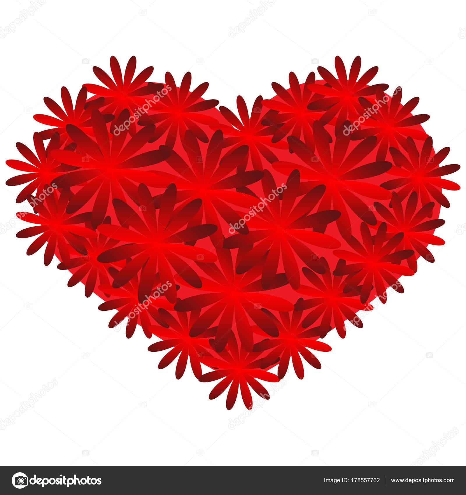 rotes Herz auf dem weißen Hintergrund. Bunte Valentine. Abstraktion ...