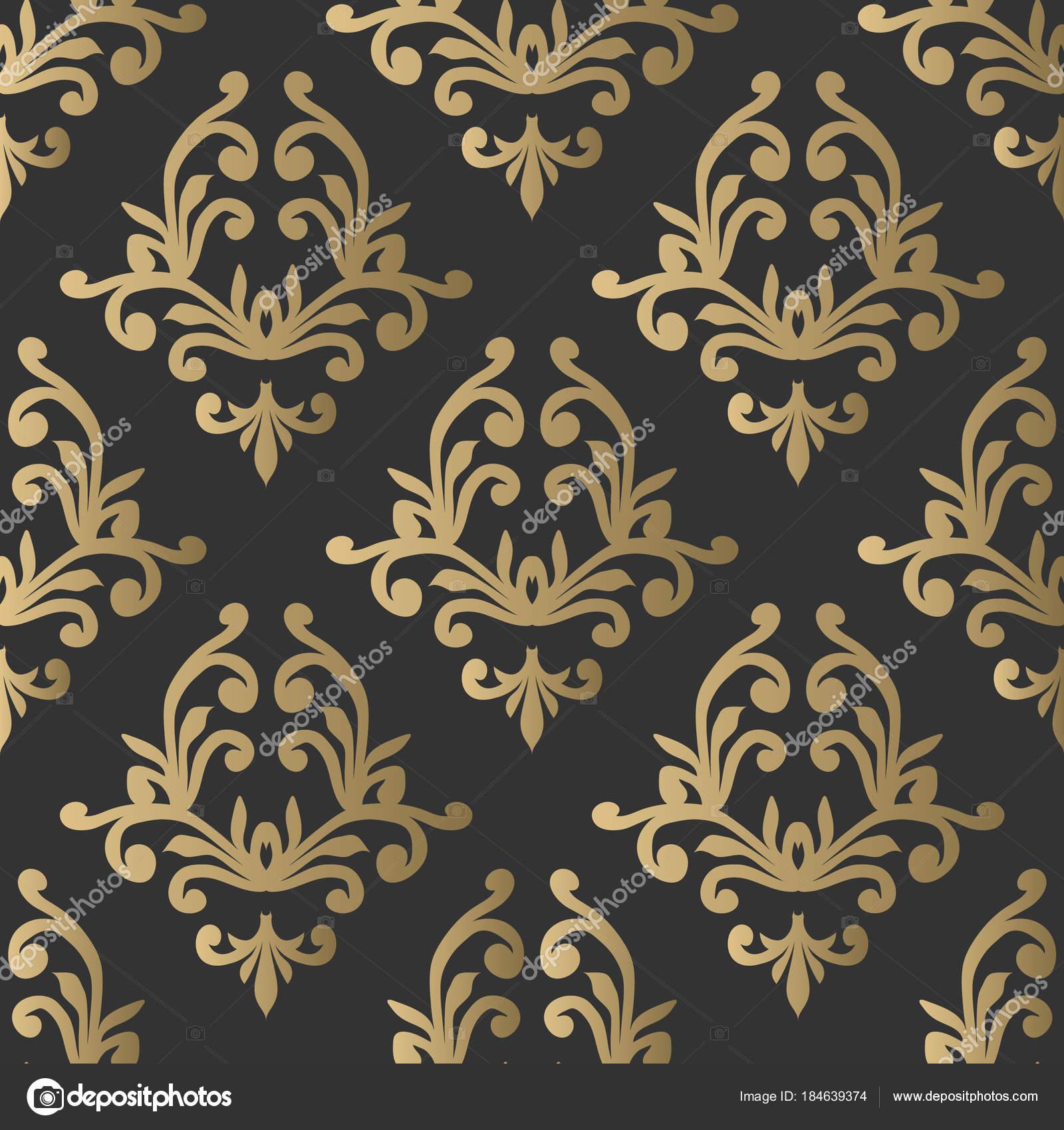 Vintage Nahtlose Muster Floral Verzierte Tapete Dunkle Vektor