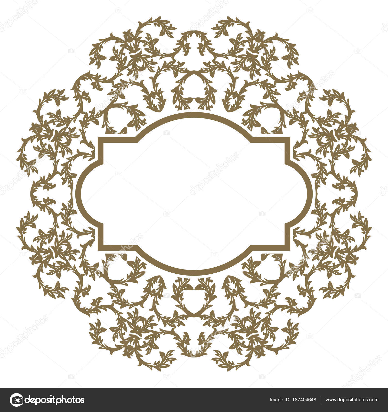 Vector golden ornate frame for you message. Floral ornament with ...