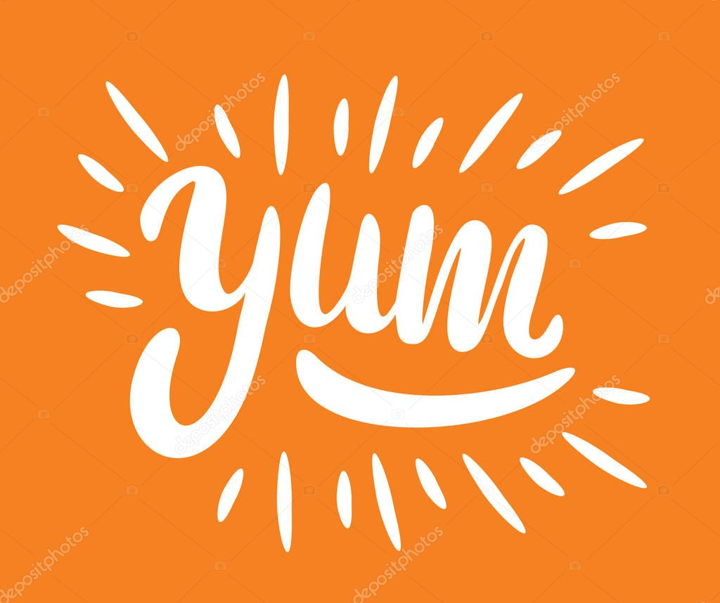 Yum. Yummy word. Vector lettering. vector illustration