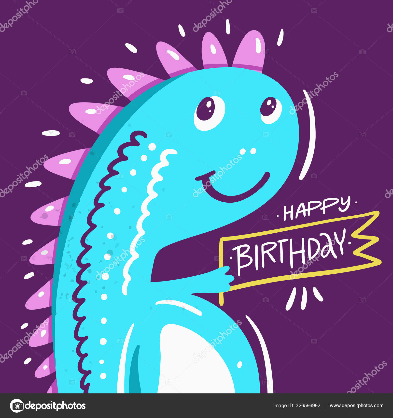 depositphotos stock illustration dinosaur and happy birthday phrase