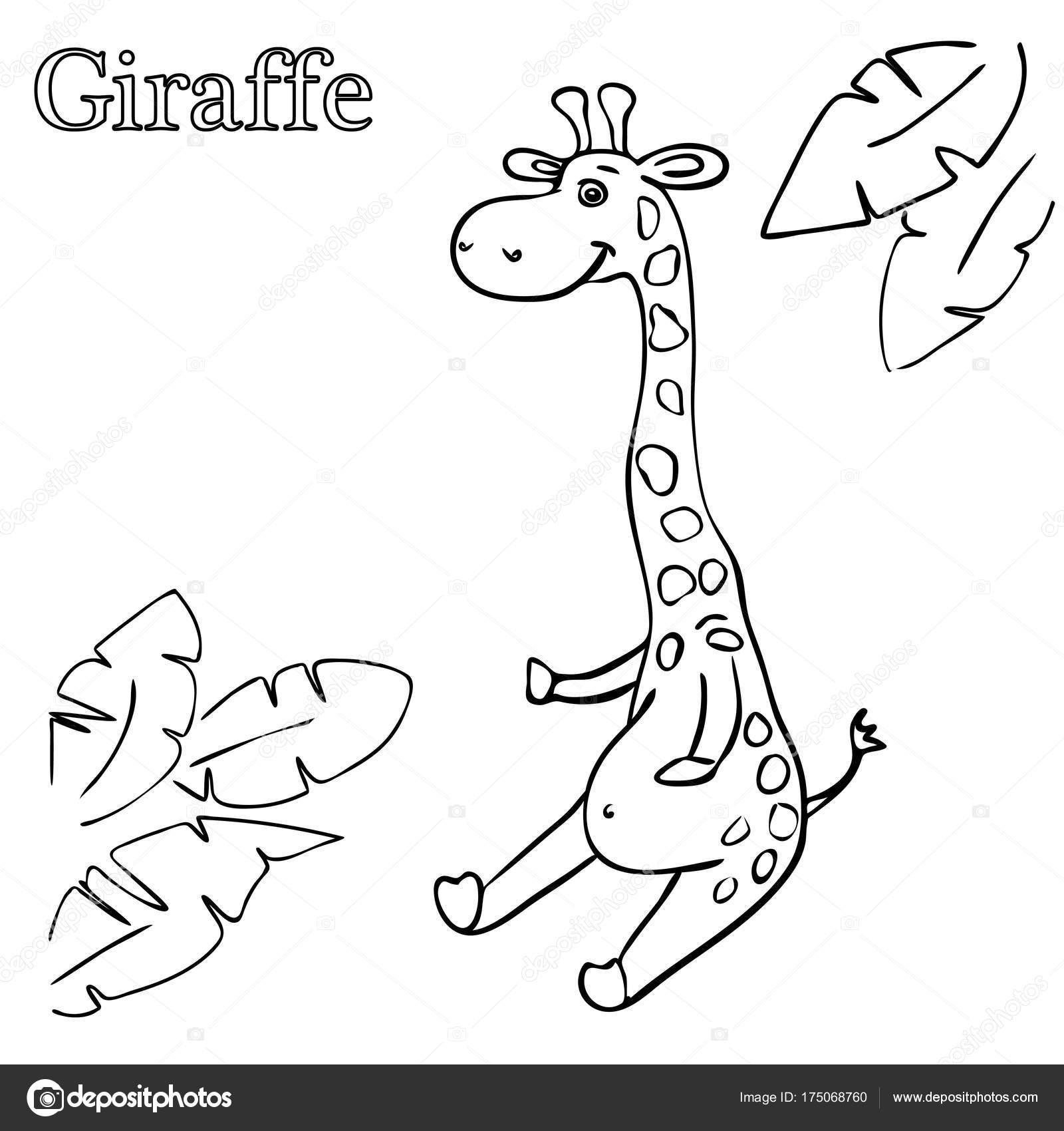 Zürafa Eps 10 çocuklar Için Boyama Sayfaları Stok Vektör Moonnim
