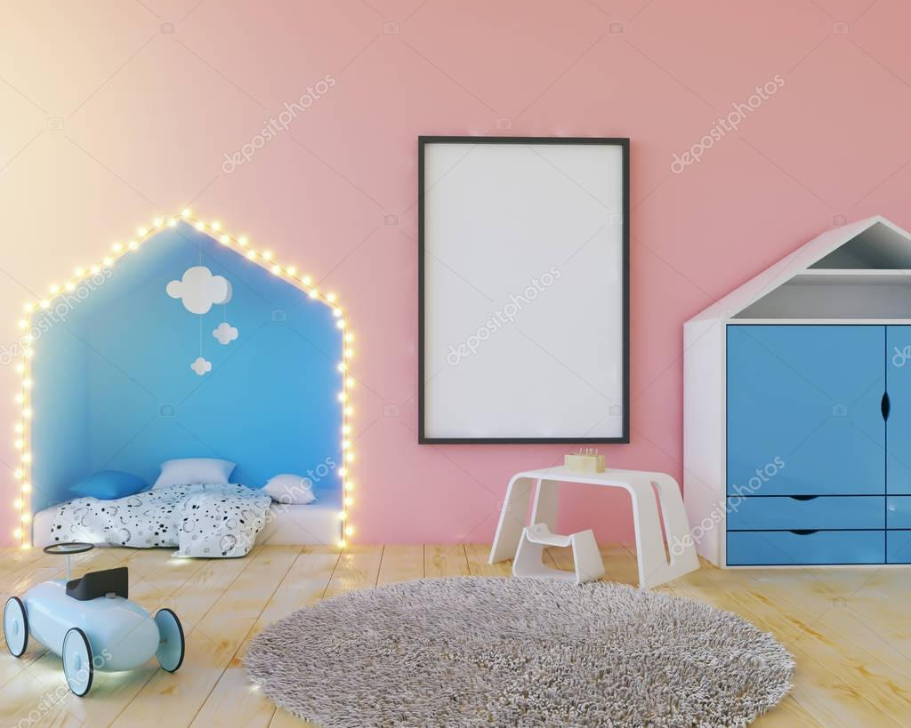 Mock up poster kleur kinderkamer met lampen. 3d illustratie