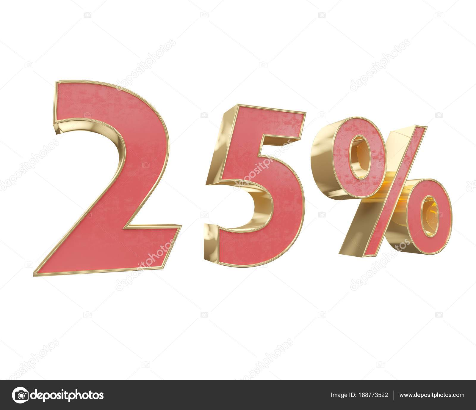 Red Gold Digit Percent Discount 3d Render White Background Stock