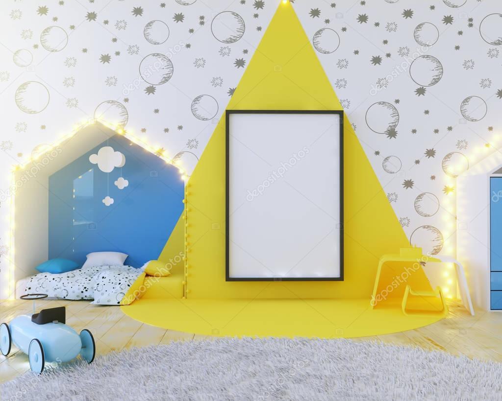 Mock up poster kleur kinderkamer met lampen. 3d illustratie