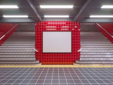 large poster at metro station 3d illustration signboard,  space,  station,  subway,  template,  three,  underground