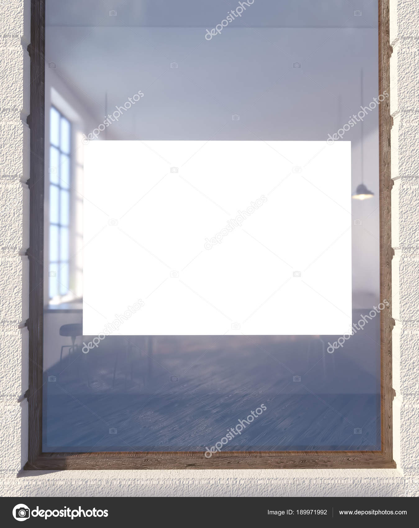 3d illustration of poster on window sign, space, store, street, up ...