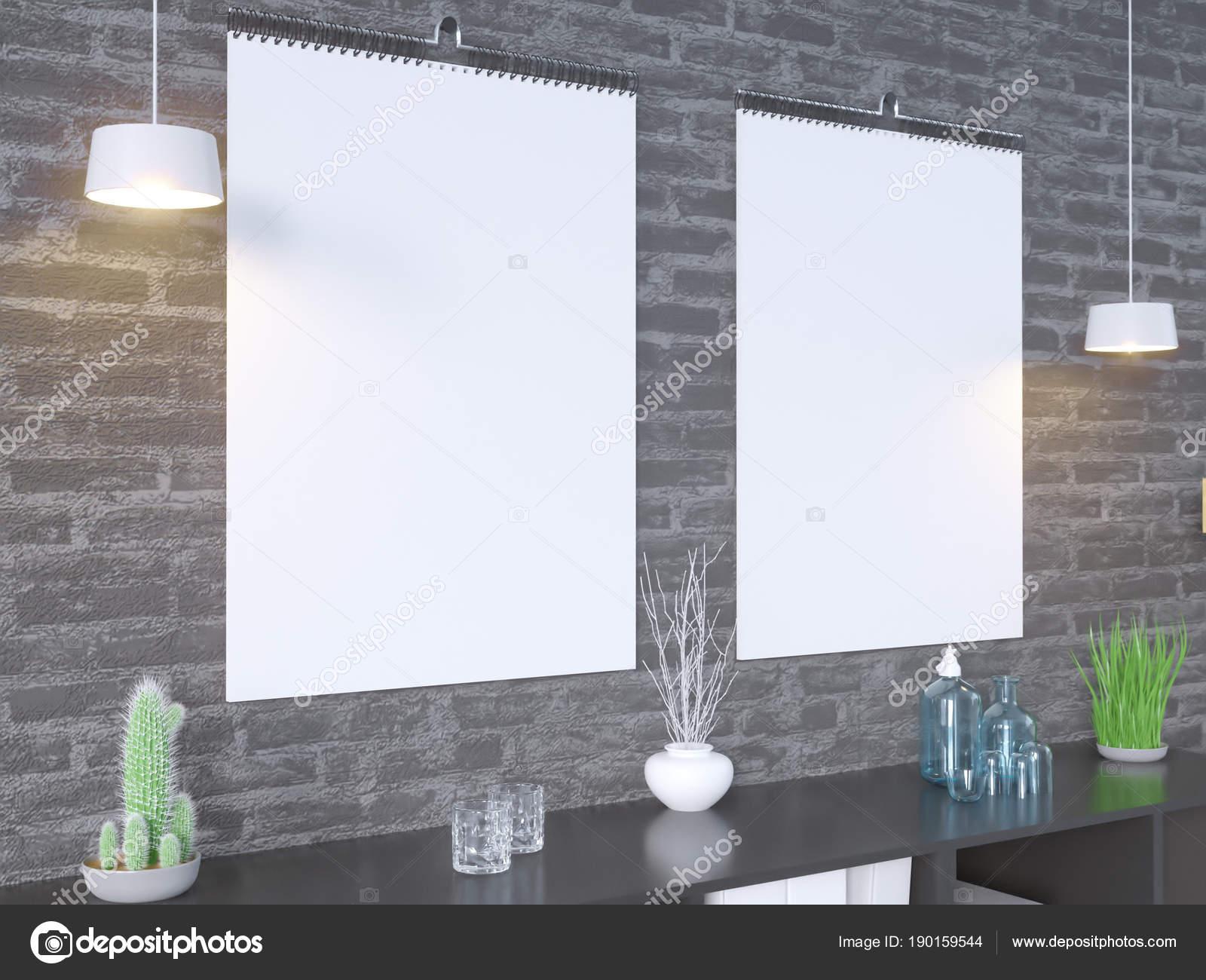 Steen In Interieur : Kalender mockup in interieur 3d rendering illustratie steen studio