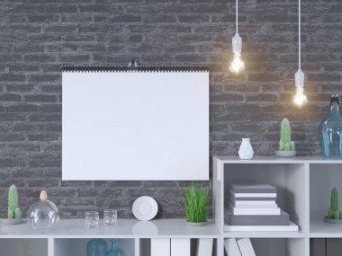 Calendar mockup in interior 3d rendering,  illustration  stone,  studio,  style,  template,  up,  urban,  wall