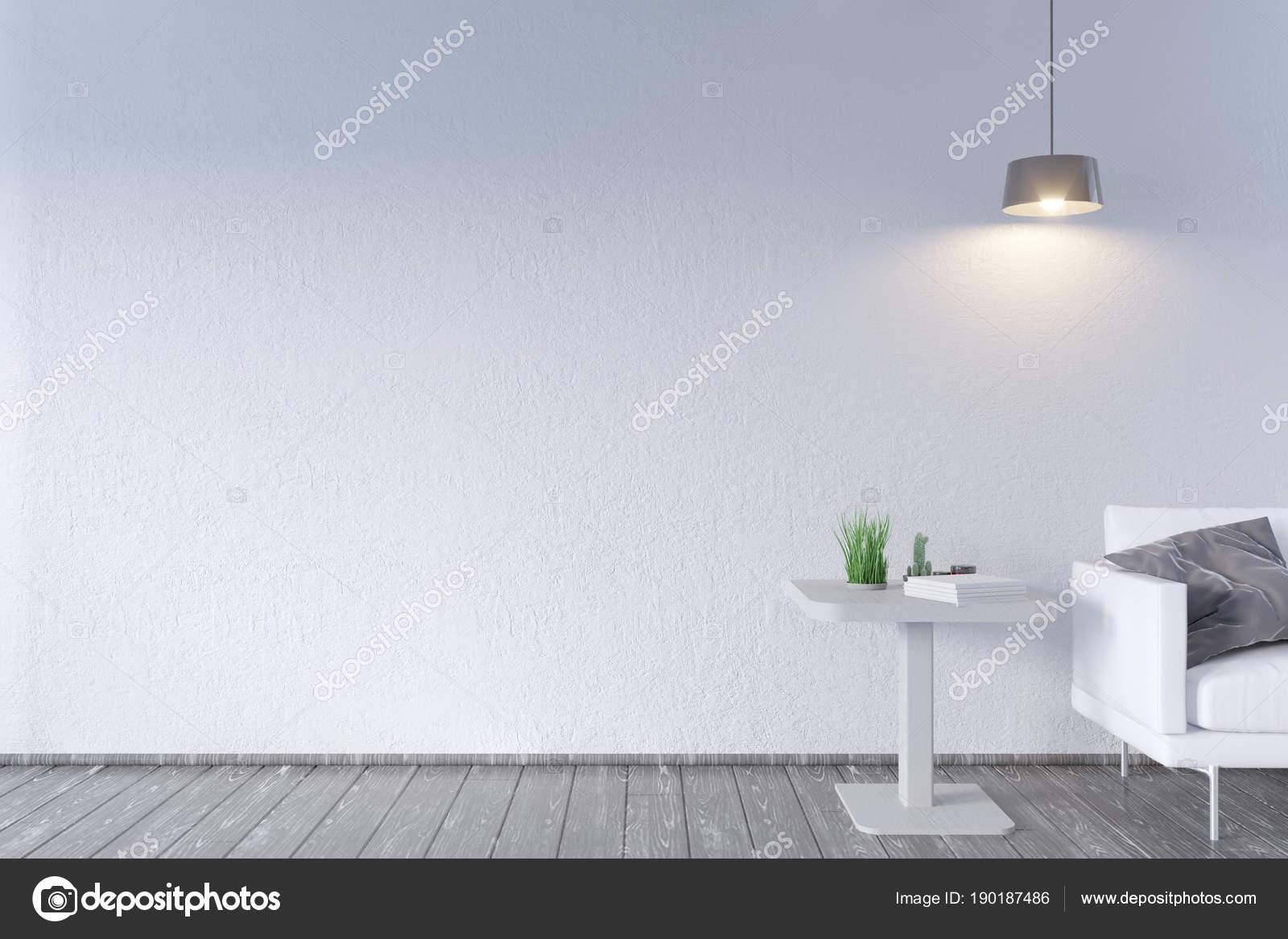 Modernes Interieur mit Tisch und Sofa. Mock-up Wand. 3D Illustration ...