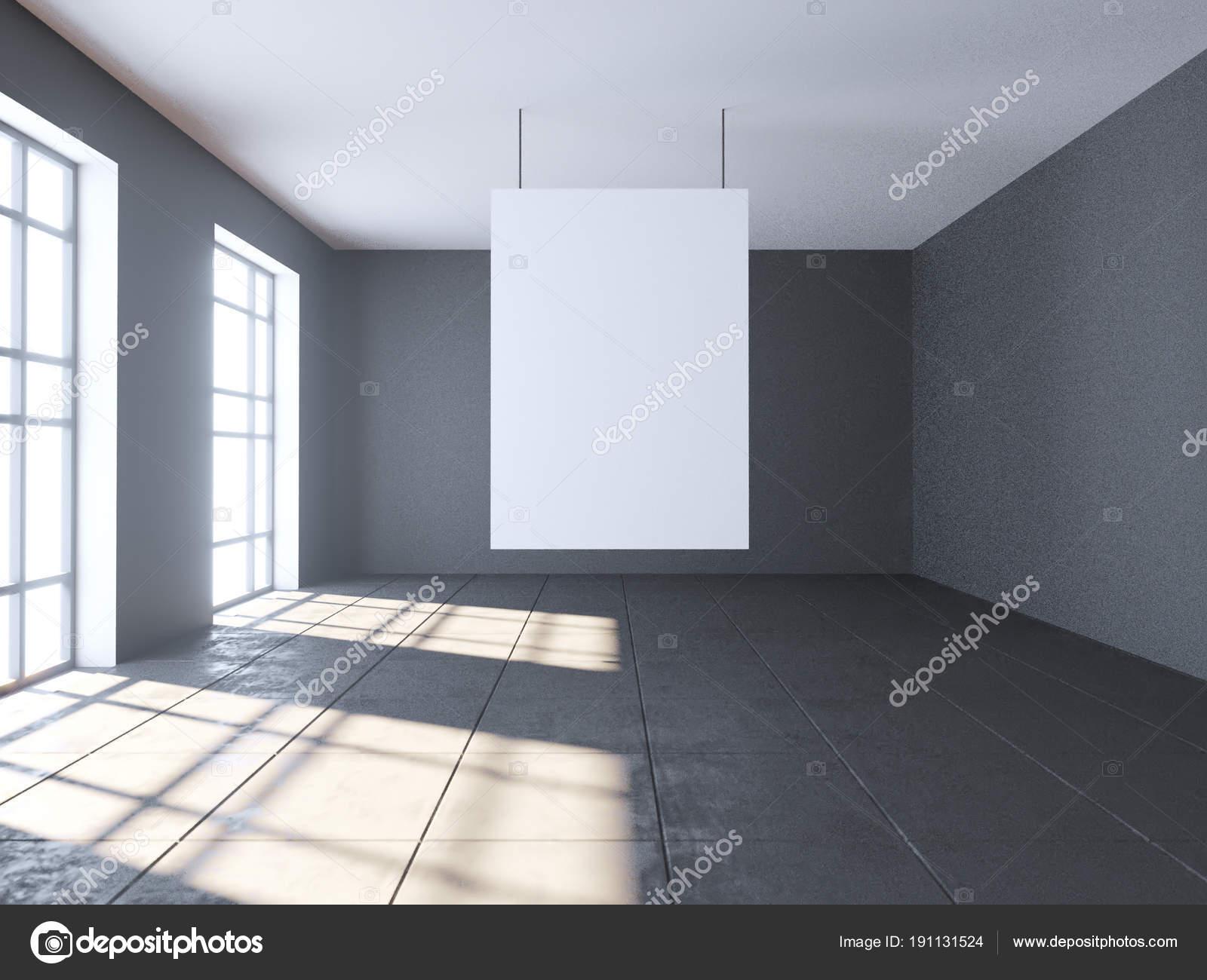 Hellen Beton Raum Mit Leeren Poster. Galerie, Ausstellung, Werbung Konzept.  Mock