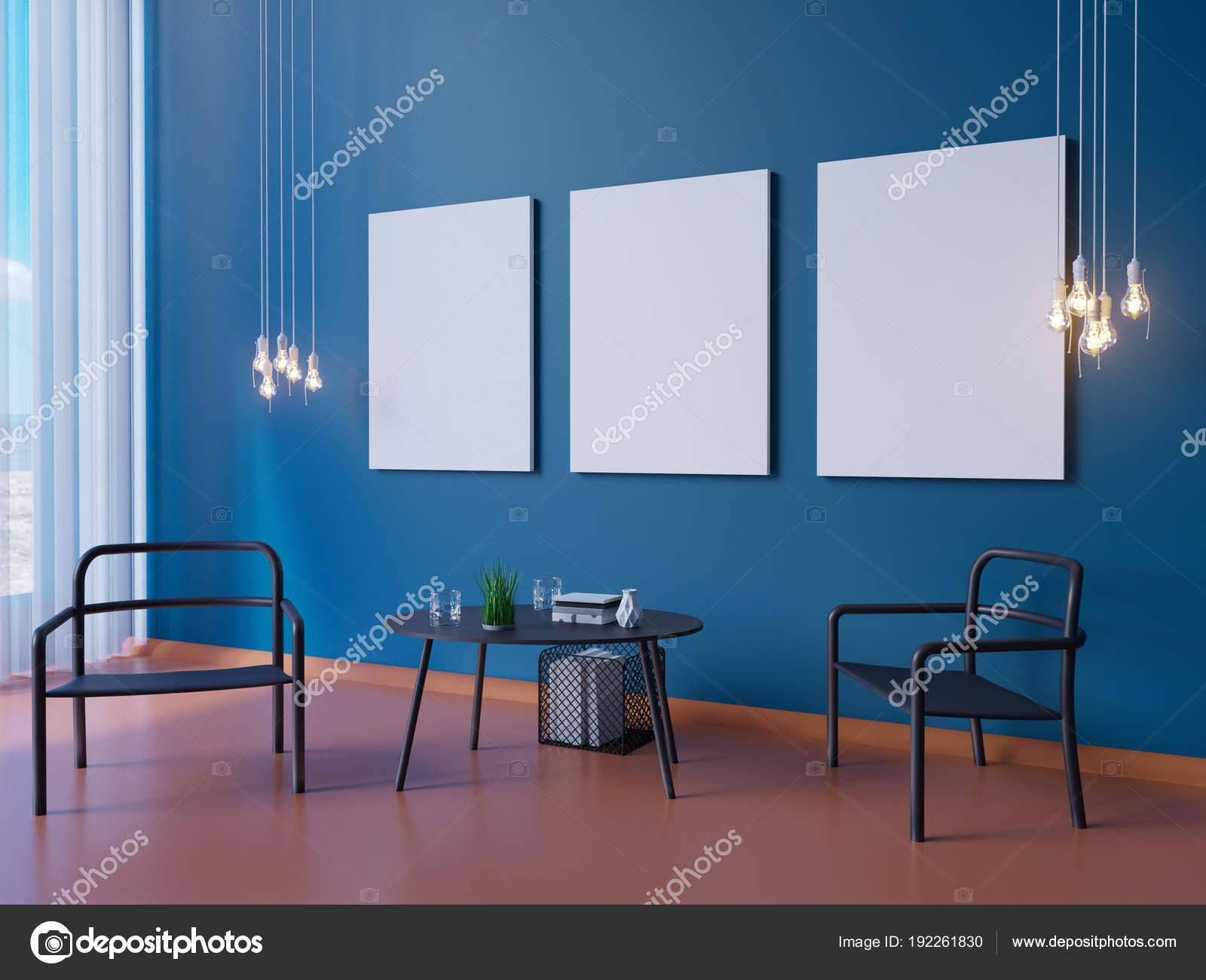 Brede moderne blauwe behang en interieur decoratie d illustrator