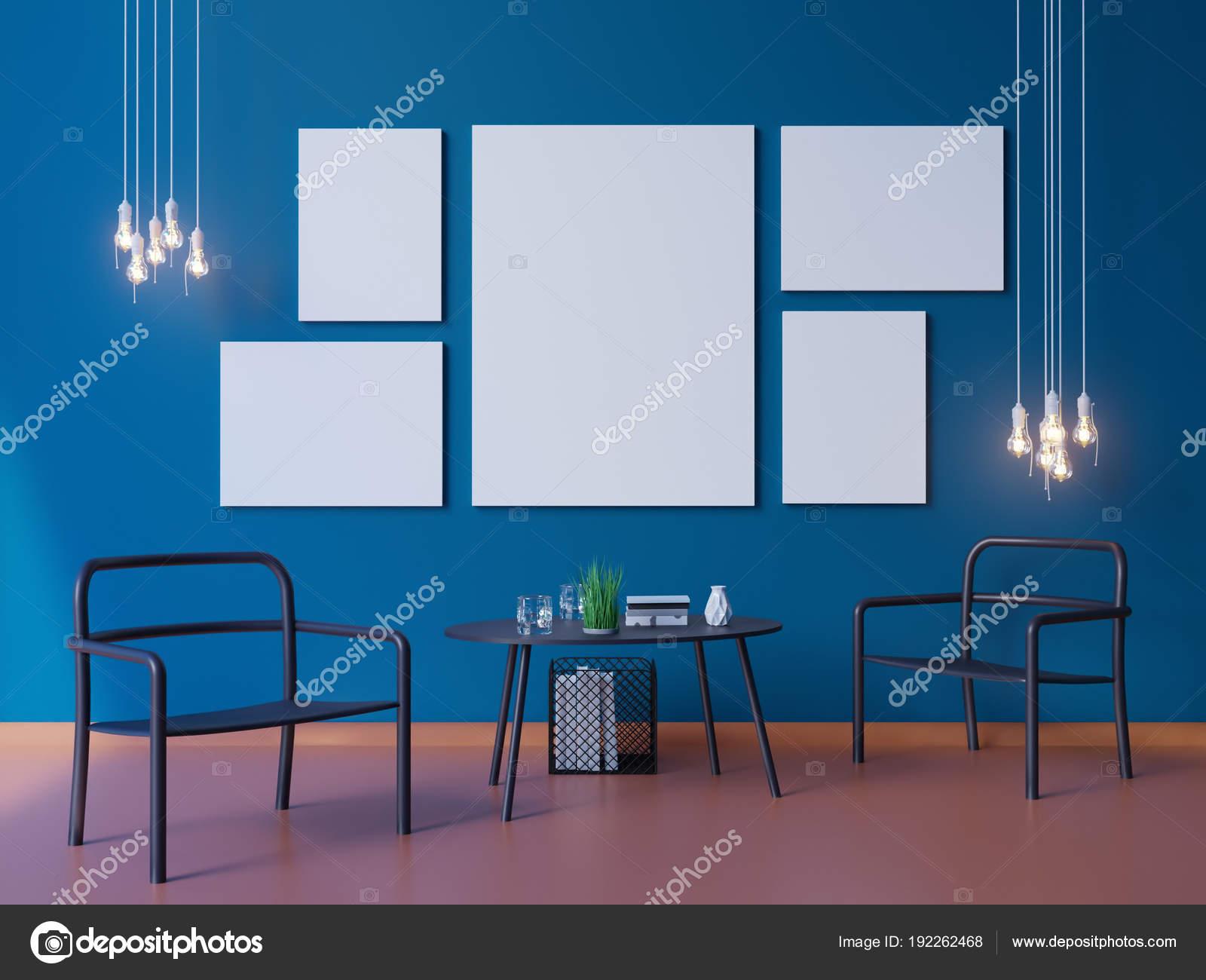 広いモダンなブルーの壁紙とインテリア レイアウト装飾 3 D