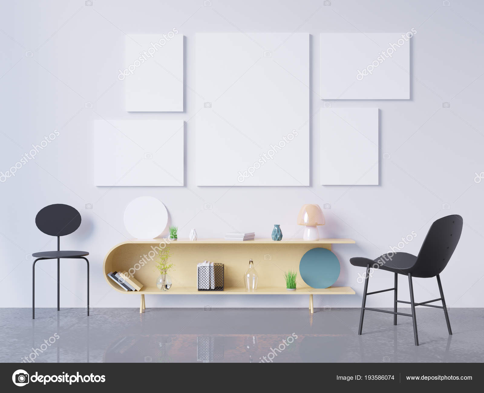 Mock-up Posterrahmen im home-Office interior Hintergrund, 3d ...
