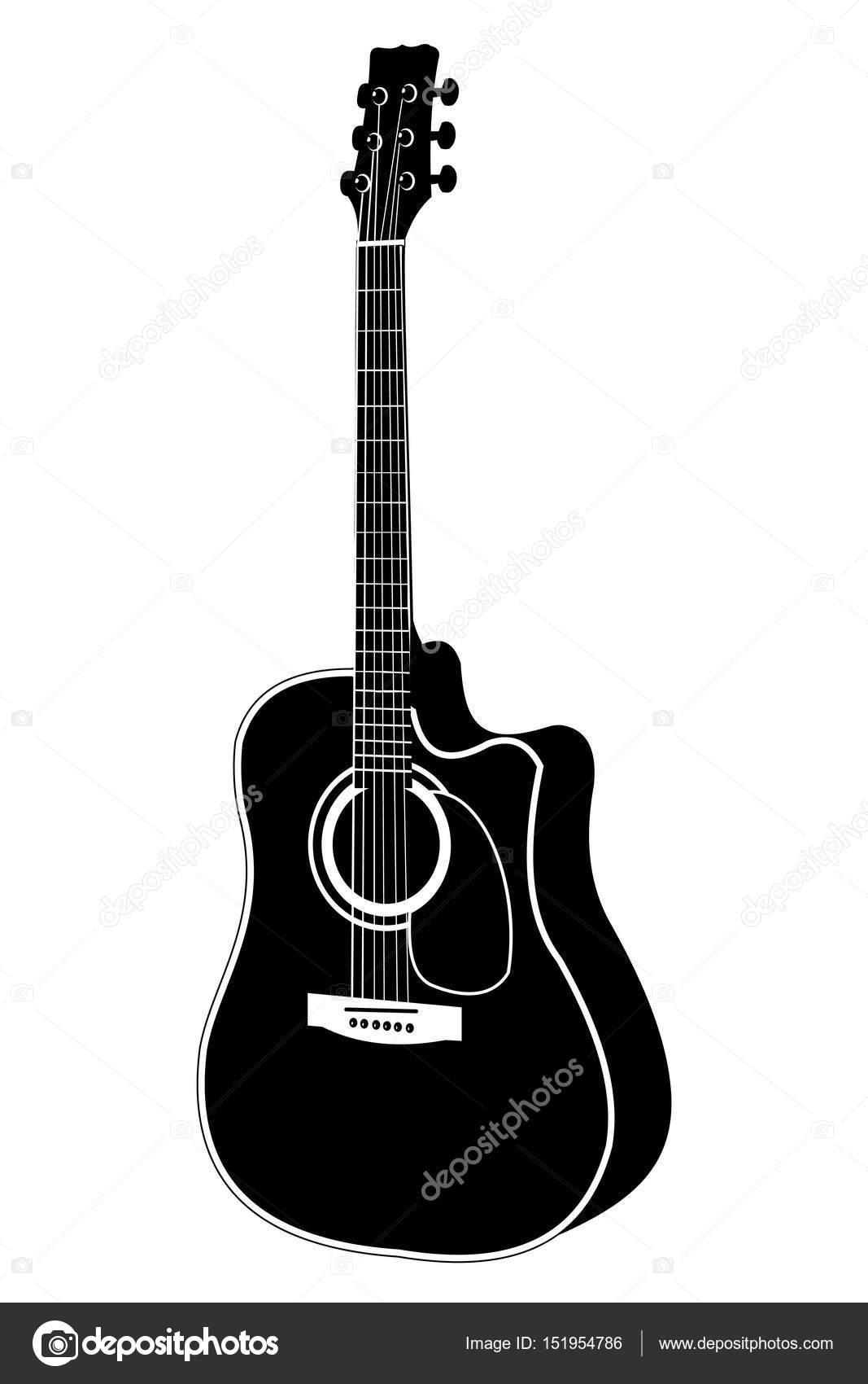 acoustic guitar vector illustration stock vector darafeja 151954786 rh depositphotos com acoustic guitar vector outline acoustic guitar silhouette vector free