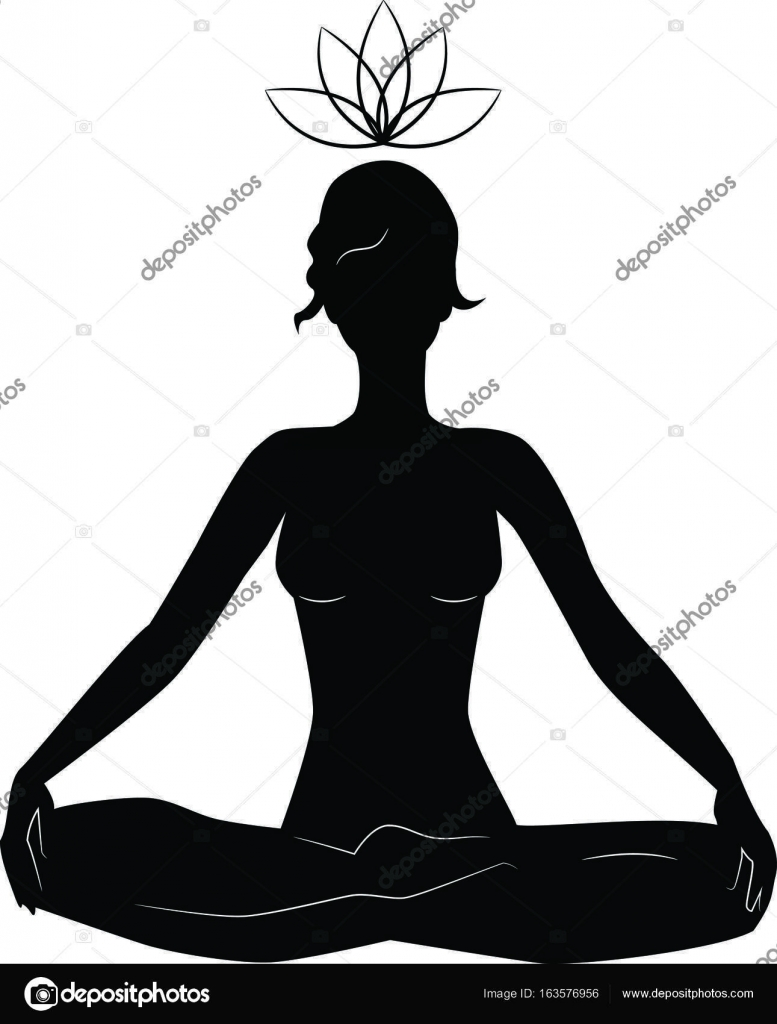 Silhouette Of Woman Practicing Yoga In Lotus Position Stock Vector C Yuliagursoy 163576956