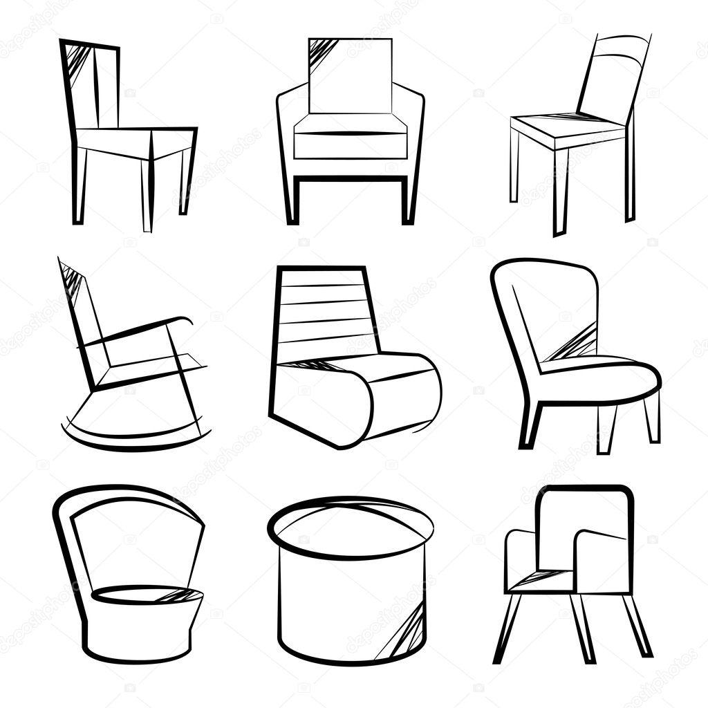 Hand Drawn Sofa Chair Icons Stock Vector C Loopang 125304078