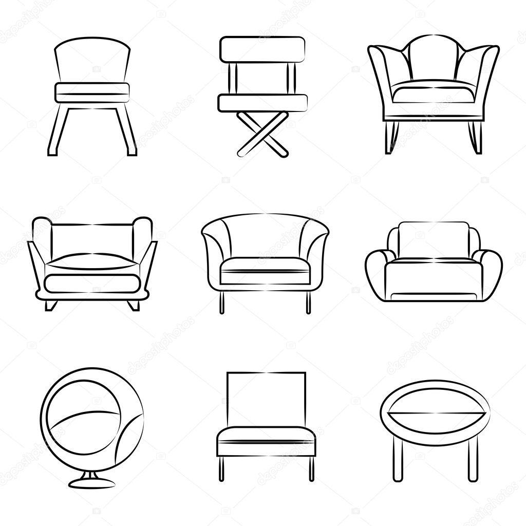 Sketch Sofa Chair Icons Stock Vector C Loopang 126574396