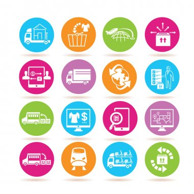 e commerce and shipping icons in colorful buttons