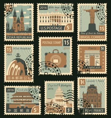 stamps with different landmarks