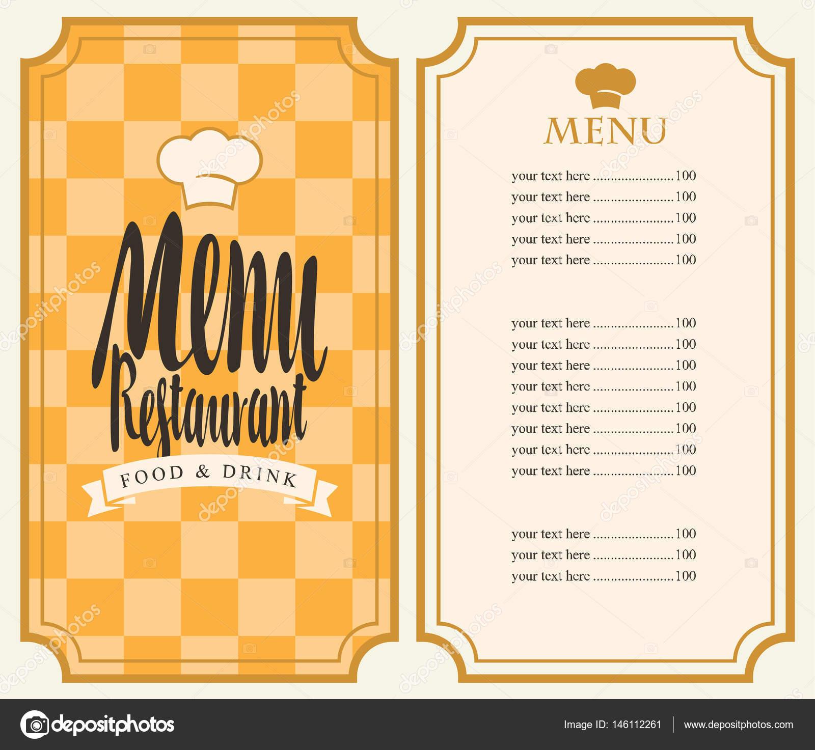 menú para el restaurante con lista de precios y toque — Archivo ...