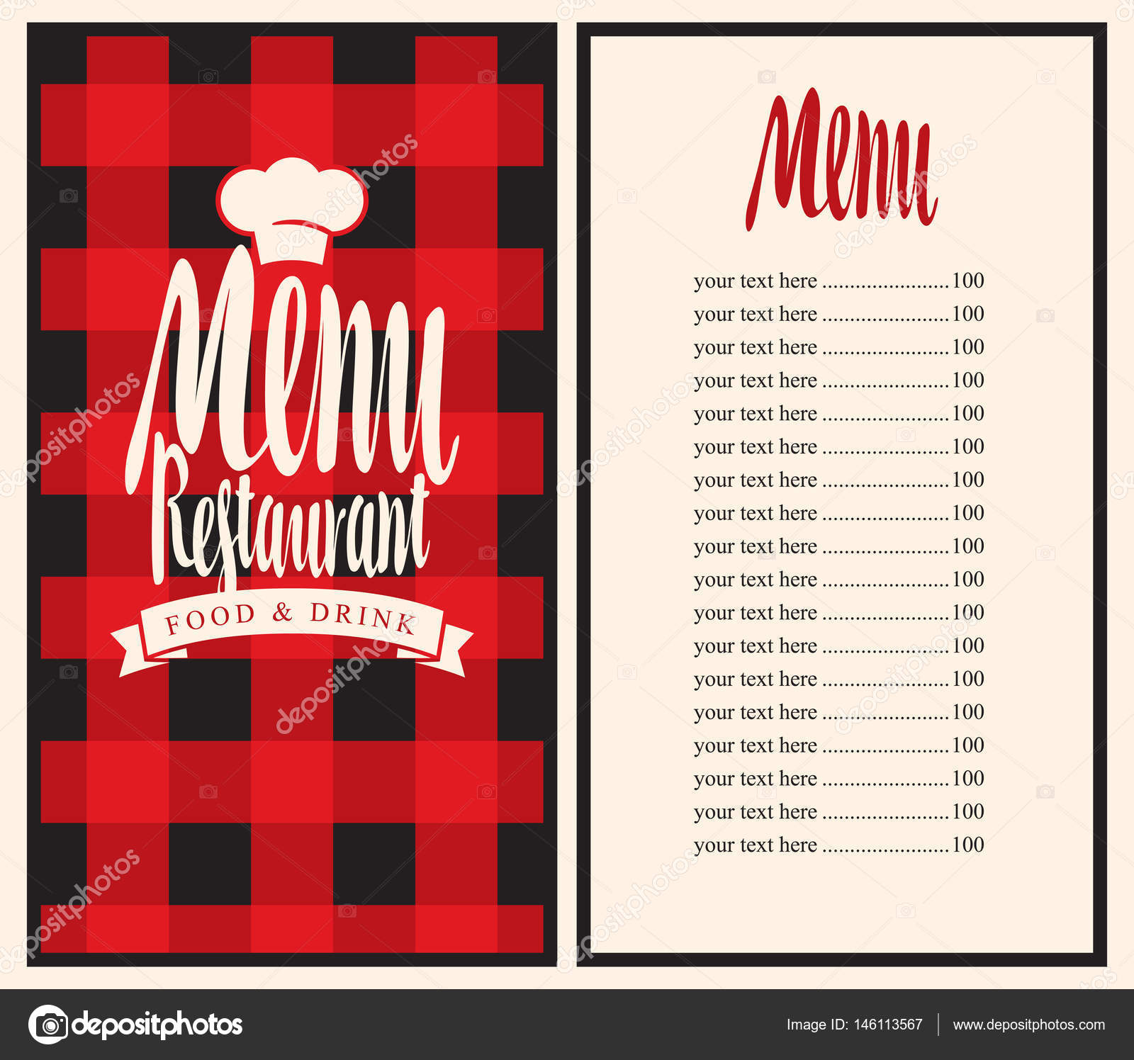 menú para el restaurante con lista de precios y toque — Vector de ...