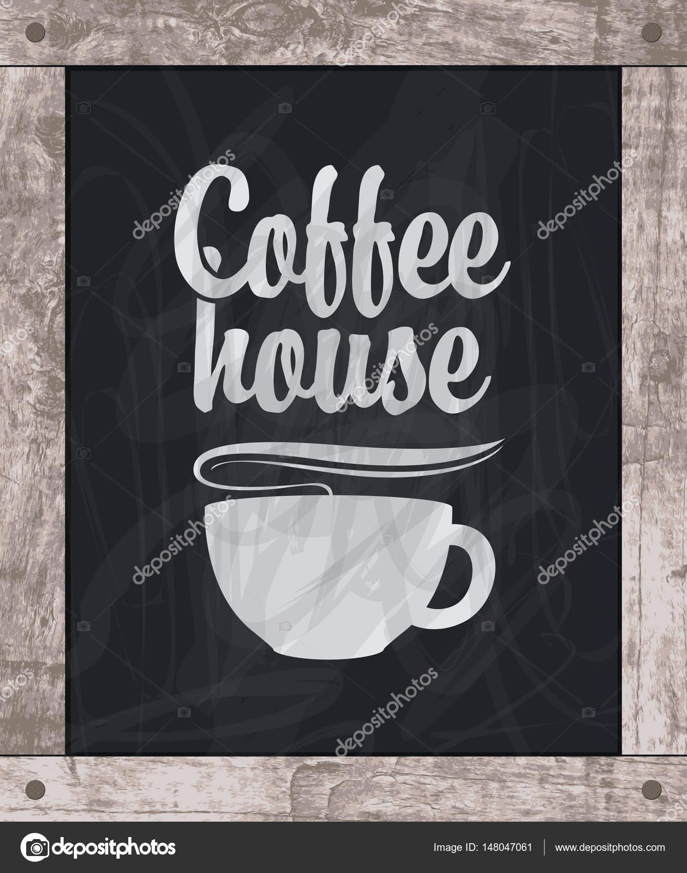 taza de café dibujo de tiza a bordo en marco de madera — Vector de ...