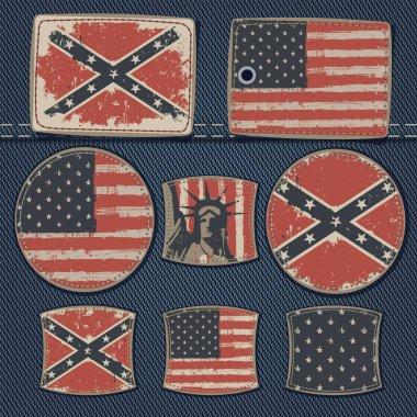 USA flag on label on jeans