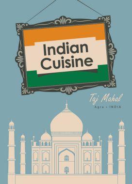 banner restaurant Indian cuisine with Taj Mahal