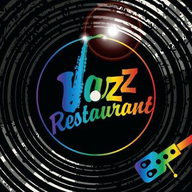 Inscription jazz restaurant with sax on vinyl
