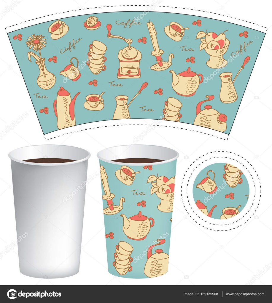 Template Paper Cup For Hot Drink Stock Vector