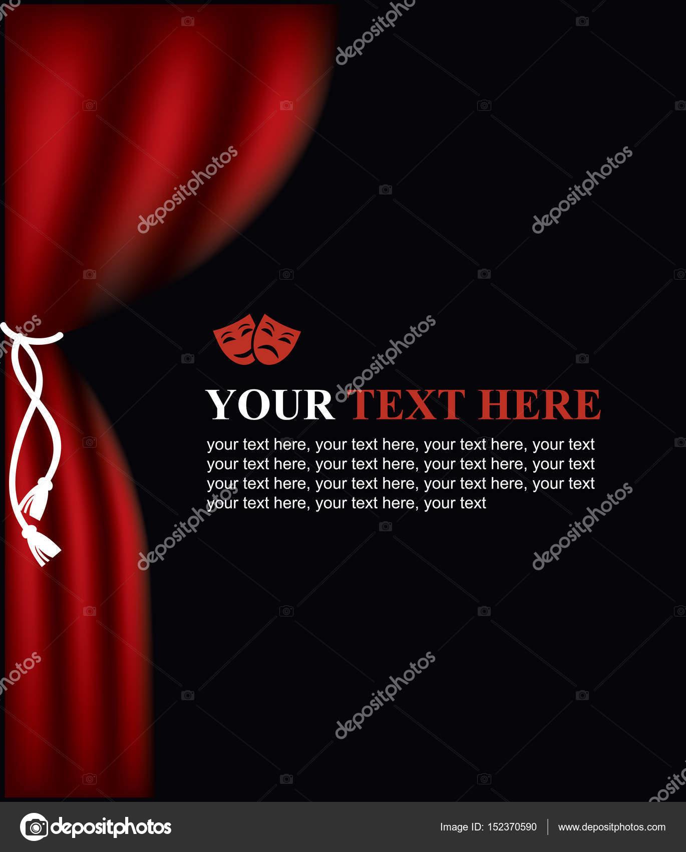 Programa de mano con el escenario del teatro de la cortina y ...