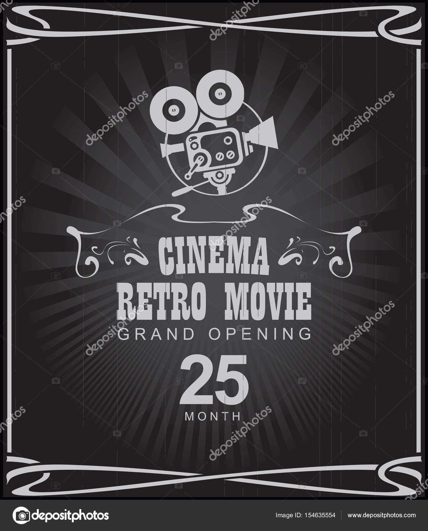 affiche cinema film r tro avec appareil photo ancien image vectorielle paseven 154635554. Black Bedroom Furniture Sets. Home Design Ideas