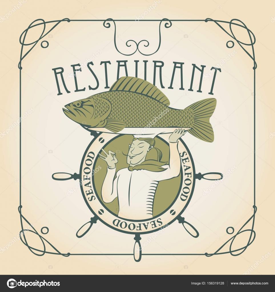 Menu Di Pesce Con Lo Chef Con Pesce Sulla Sua Testa Vettoriali