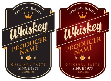 two retro labels for whiskey in the curly frame