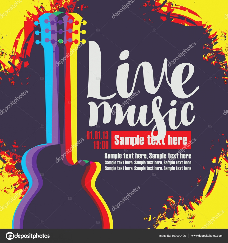 Banner With Acoustic Guitar On Grunge Background Stock Vector C Paseven 160099426