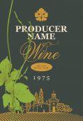 Fotografia etichetta del vino con il paesaggio verde e grapevine