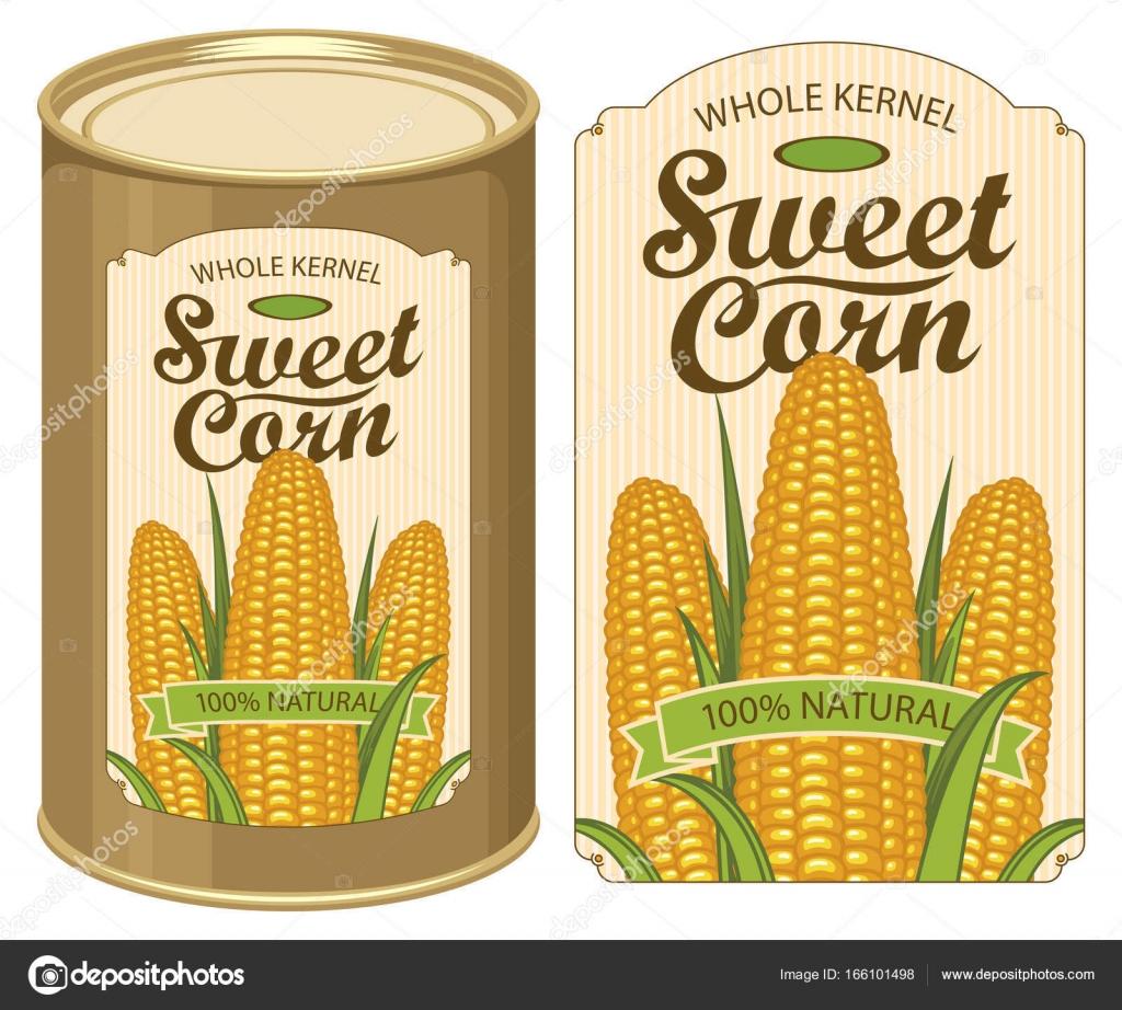 etiqueta de la lata para enlatados maíz con las mazorcas — Archivo ...