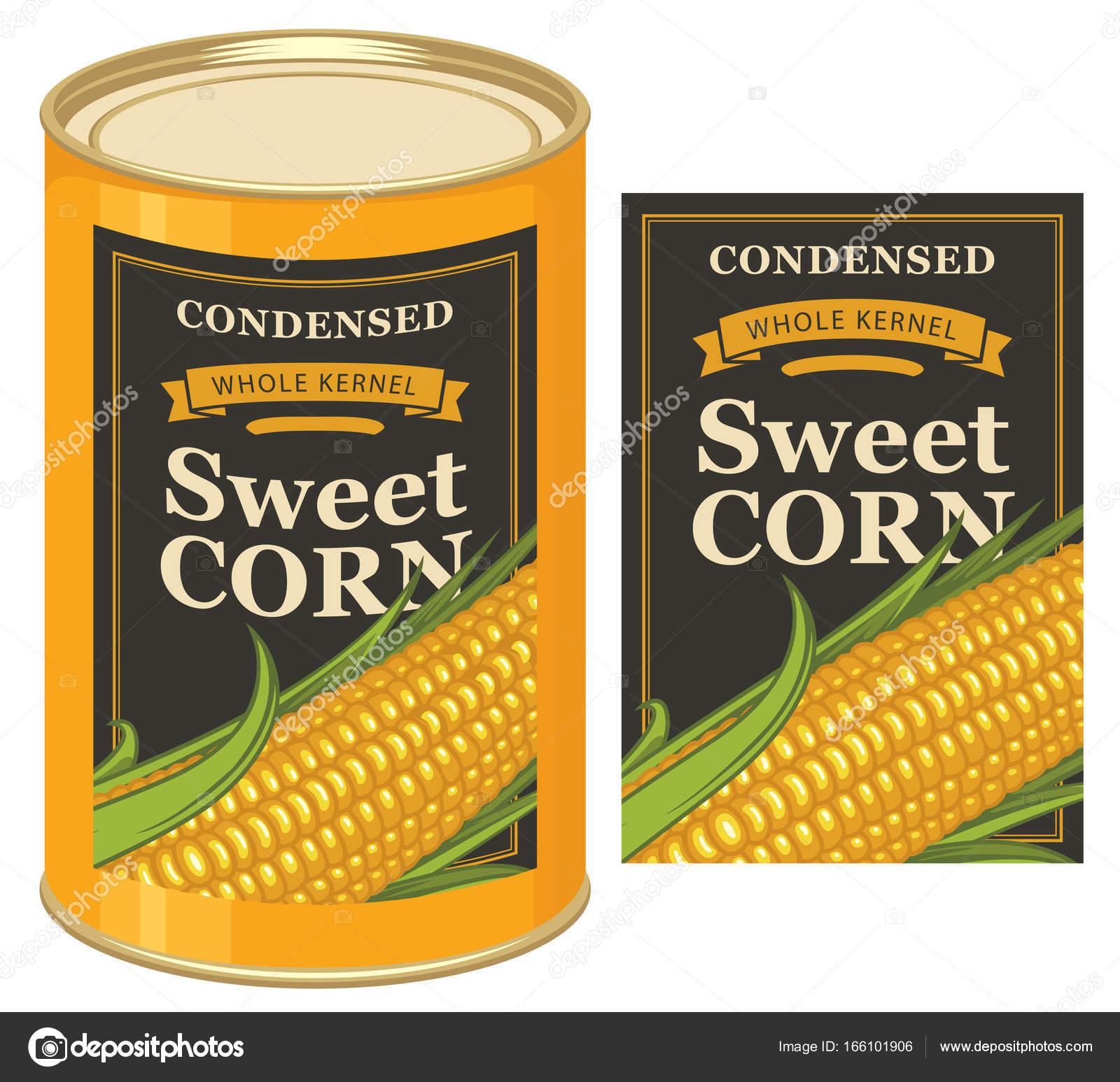 etiqueta de la lata para enlatados maíz con mazorca — Vector de ...
