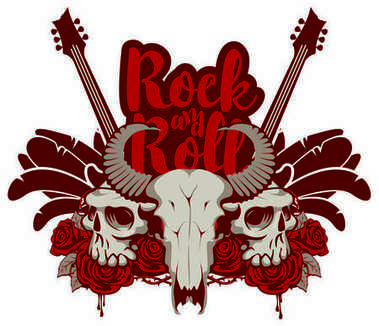 Rock and roll banner with guitar, skulls and roses