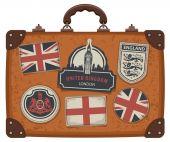 Fotografie Koffer mit Großbritannien und Englisch Symbole und Flaggen