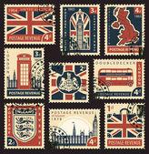 Serie von Briefmarken mit UK-Symbolen und Flagge