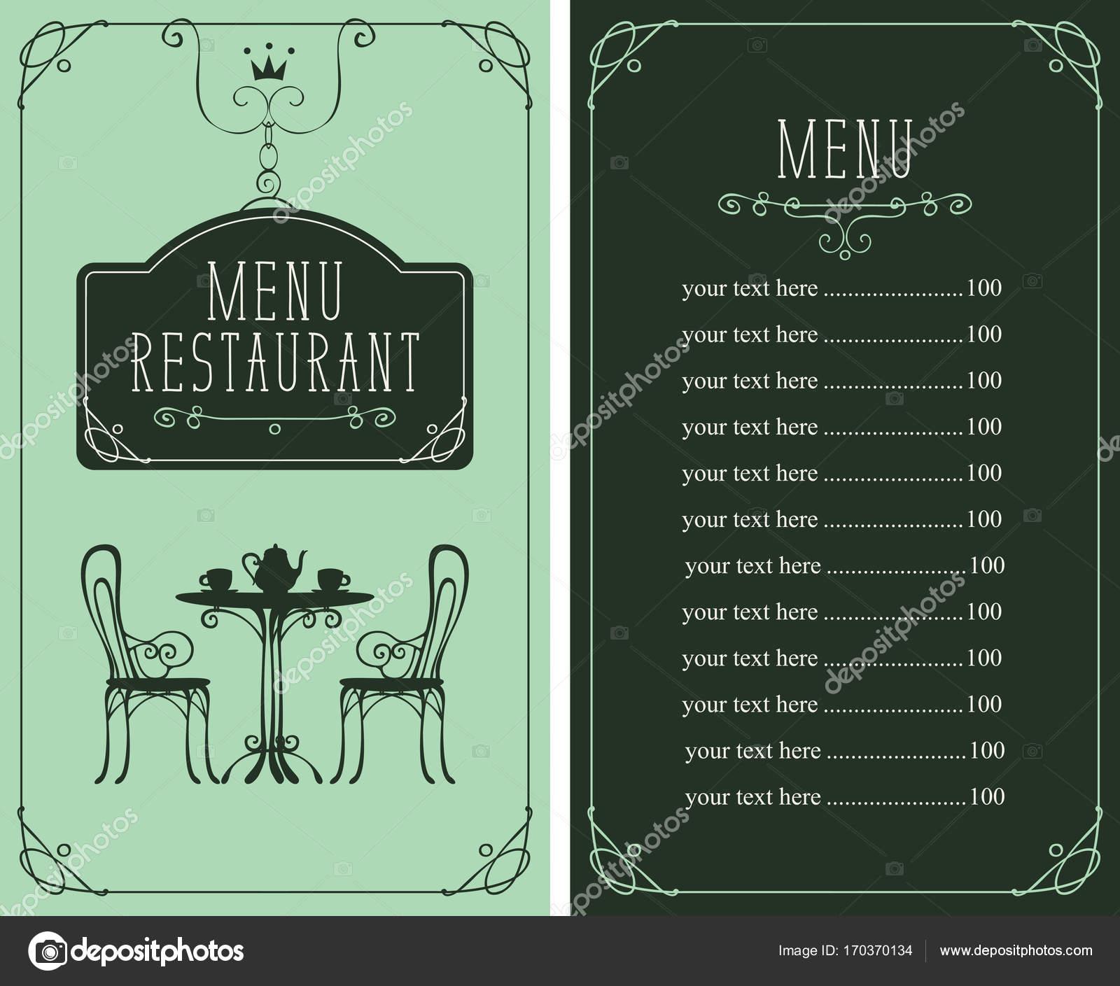 Menü mit Preis, Bild serviert Tisch und Stühle — Stockvektor ...