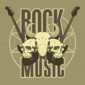 Hudba je znak s lebkami, kytary a pentagram