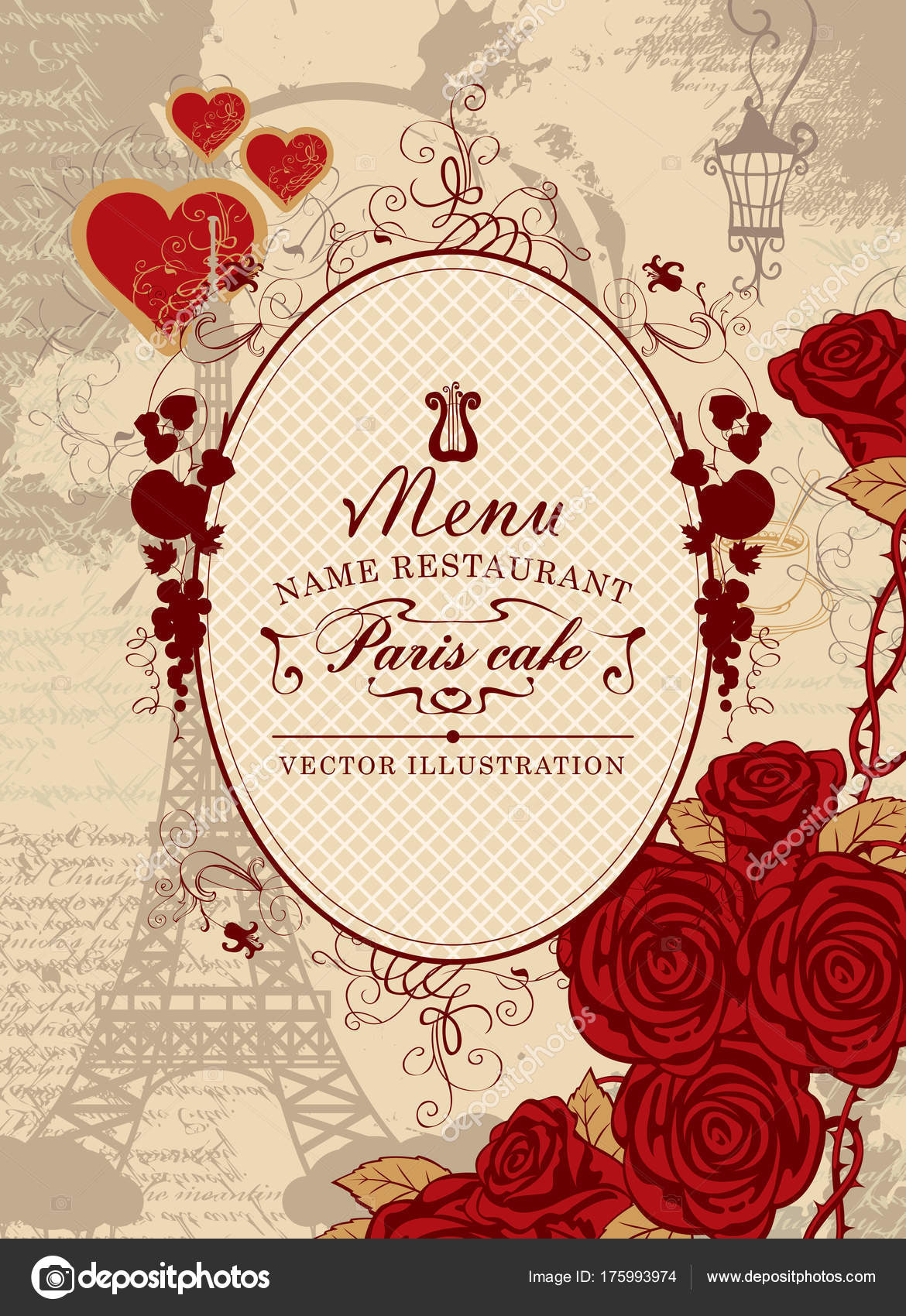 cover menu with the Eiffel Tower, heart and roses — Stock Vector ...