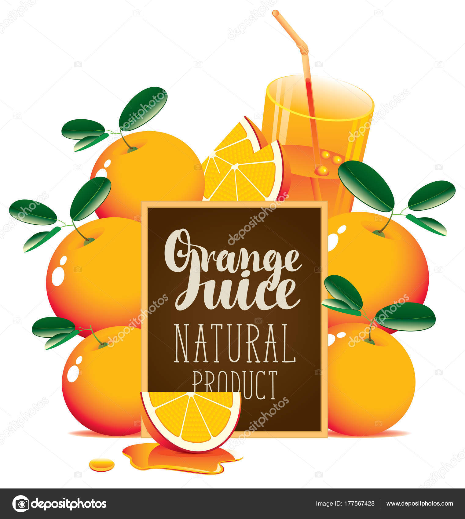 Orange Juice Banner With Oranges And Blackboard Stock Vector C Paseven 177567428