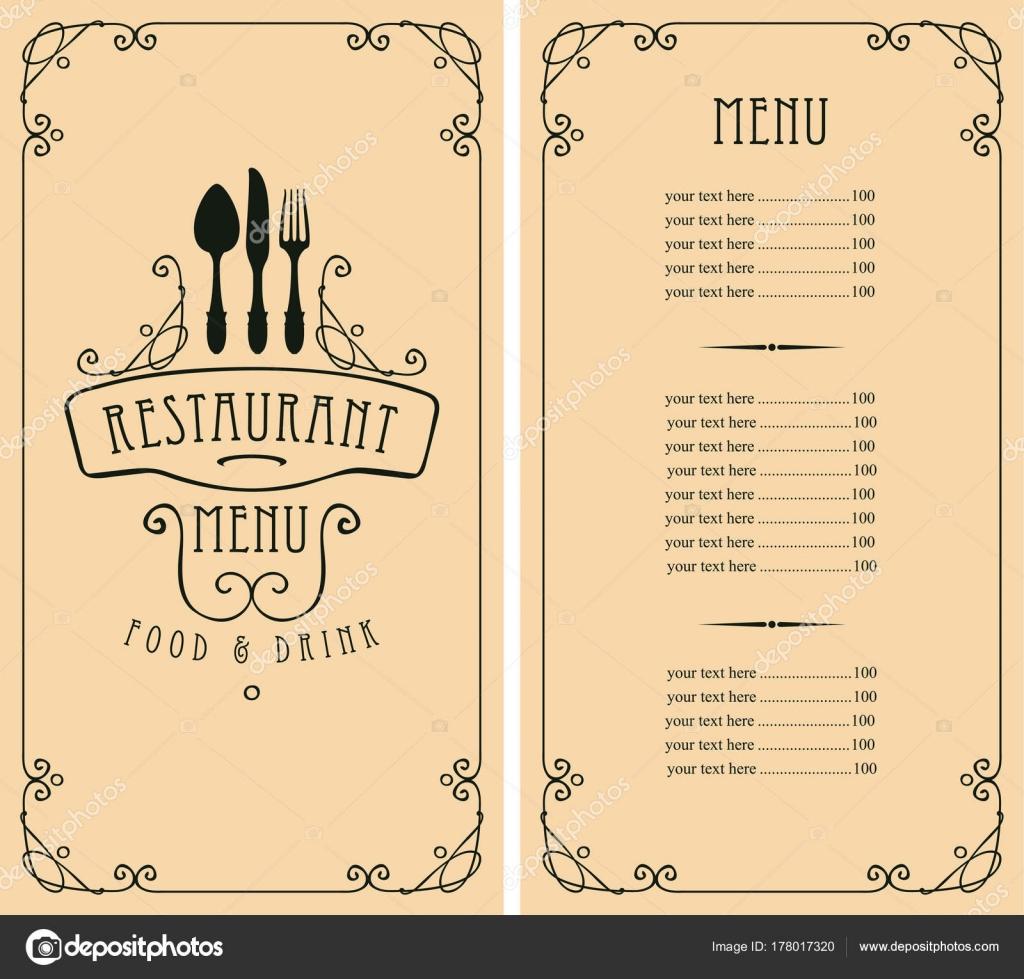 menú para el restaurante con lista de precios y cubiertos — Vector ...